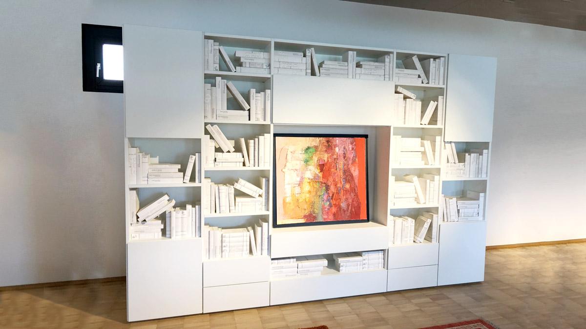 Libreria in legno laccata bianca